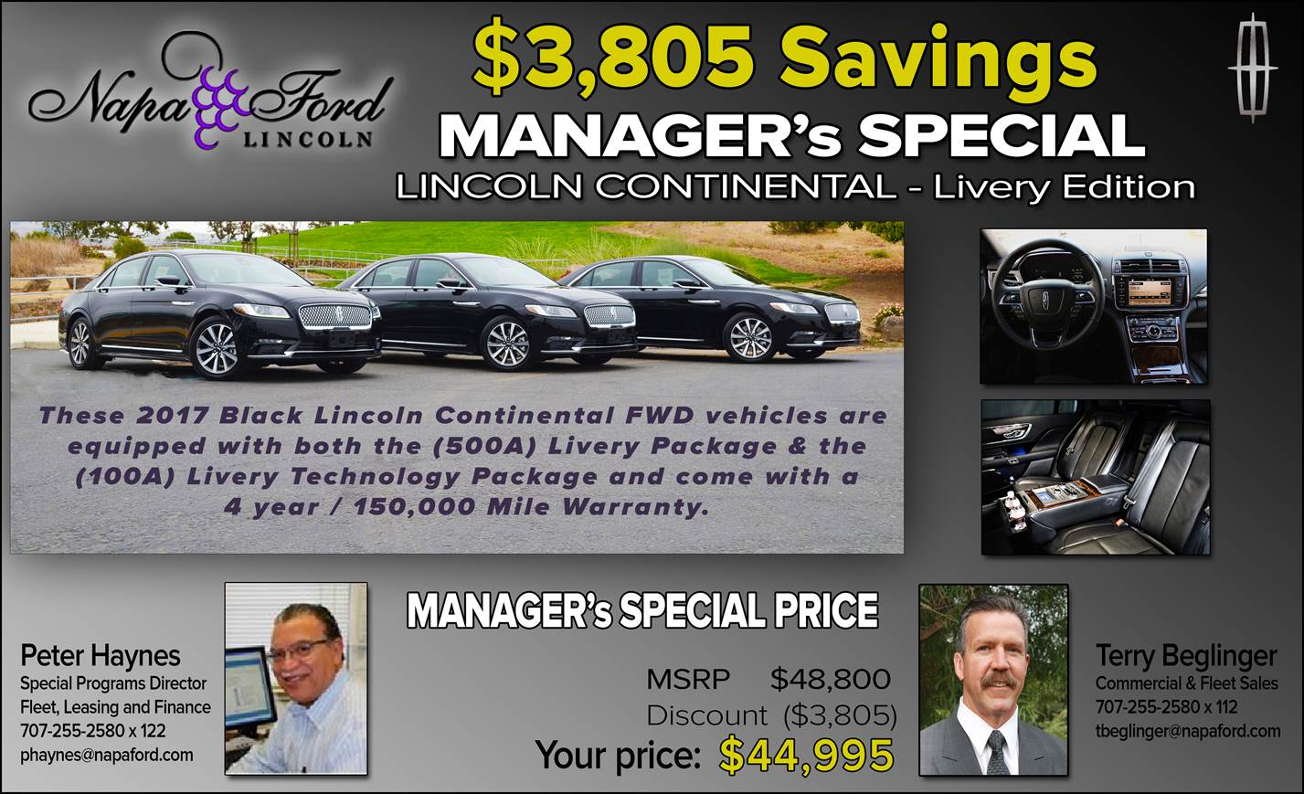 Napa Ford Limo Livery Special Offer