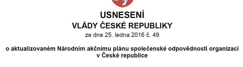 Vláda ČR schválila aktualizovaný Národní akční plán společenské odpovědnosti organizací v České republice