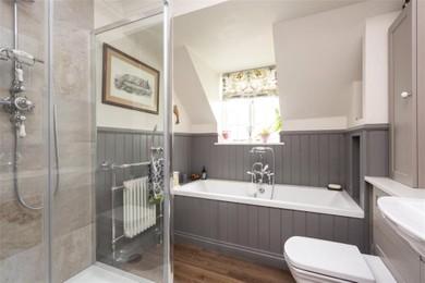 Bathroom with wood wall