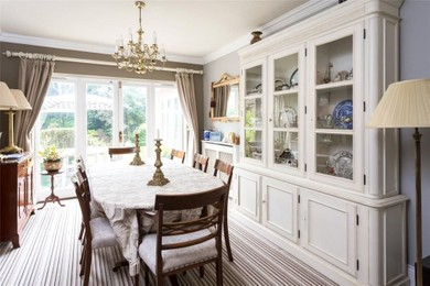 Large dining room with french doors