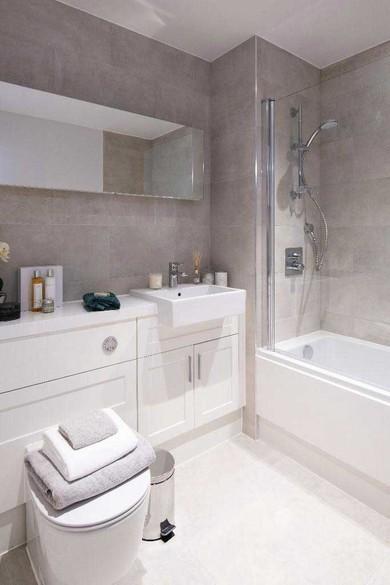 Bathroom with porcelain floor