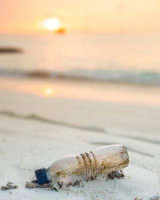 Bottle on the sea