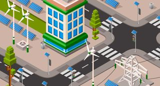 Street in a sustainable city