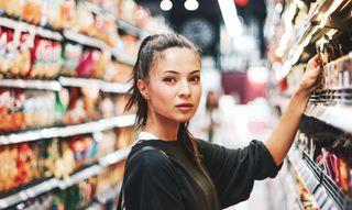 Millennial consumer in a supermarket