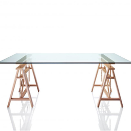 Glass table with original legs