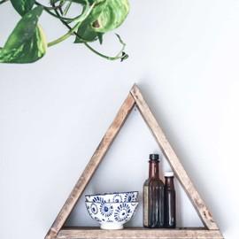 Triangular wooden shelving