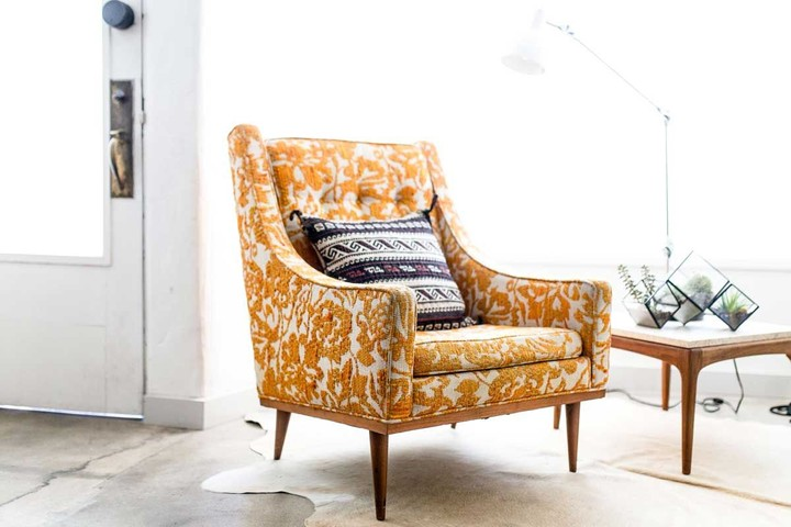 Armchair with floral pattern