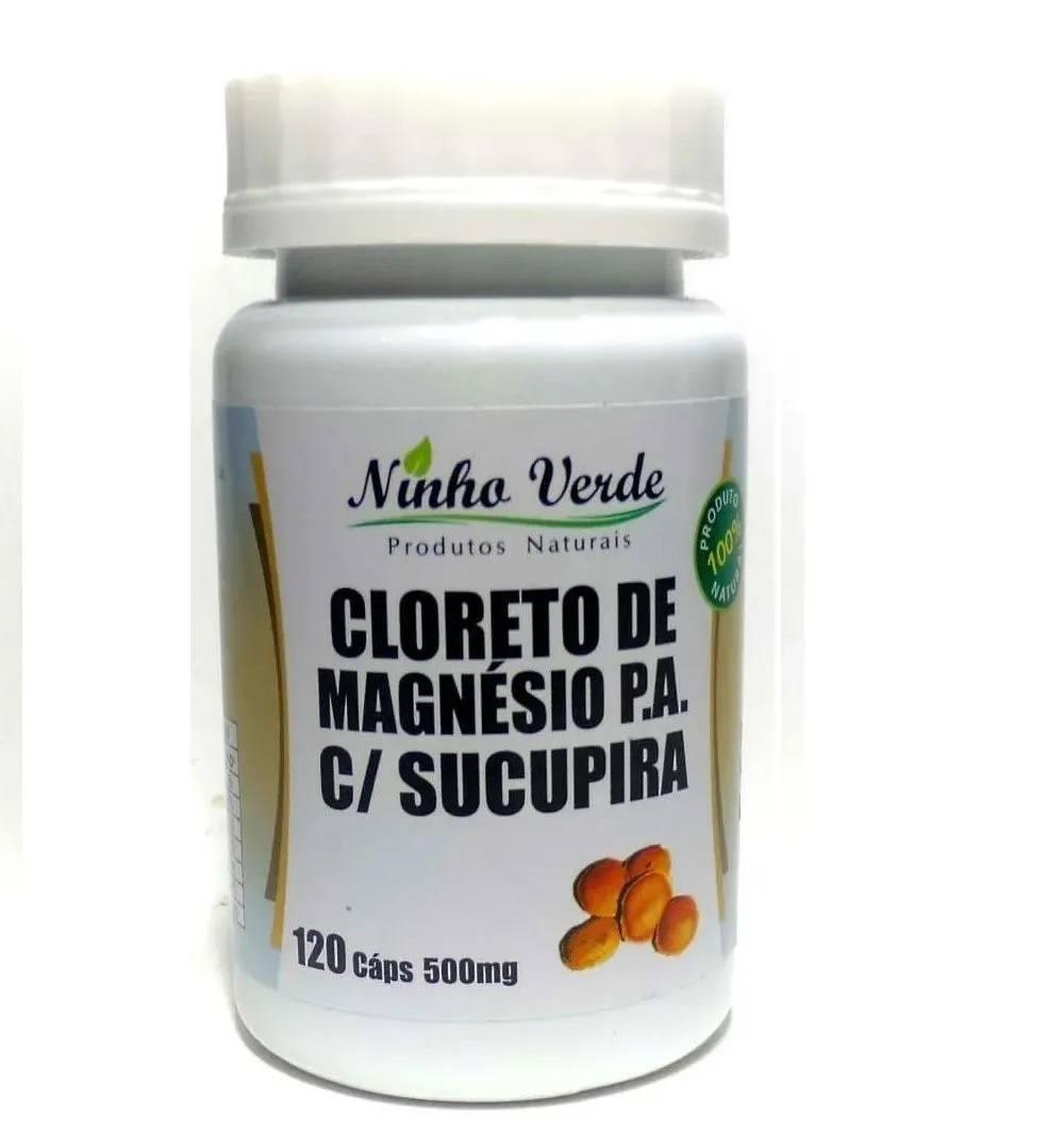 Cloreto de Magnésio P. A com Sucupira 500 mg 120 cáps. Ninho Verde