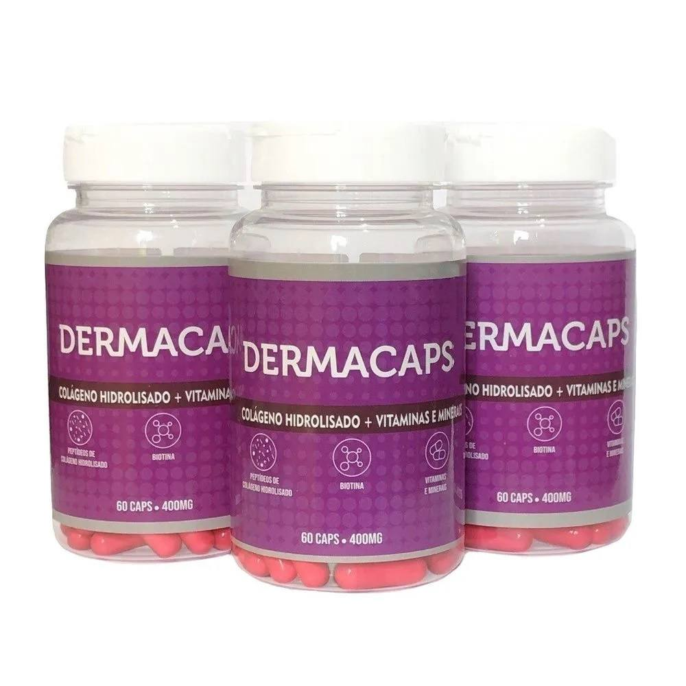 Kit 3 Dermacaps 60 cápsulas 400 mg Vida Natural