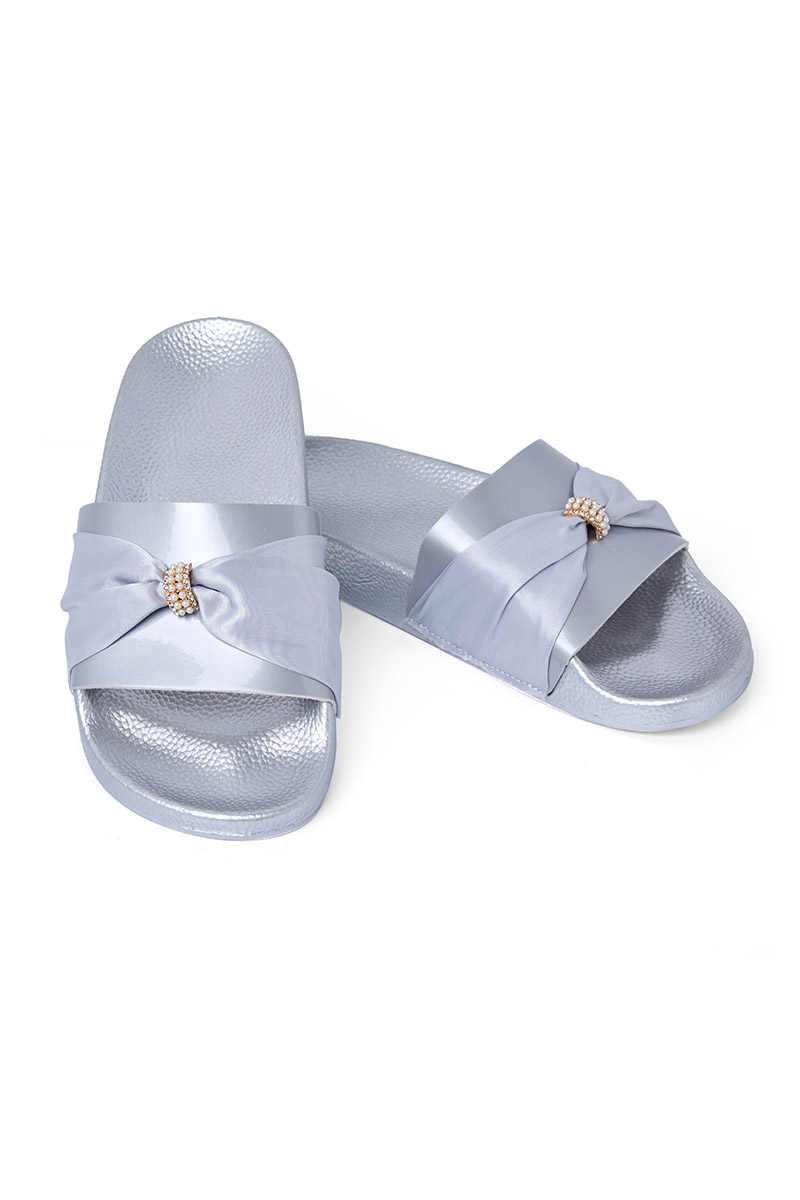 9c8074a800ef Buy Silver Open Toe Slippers Online at Nayomi