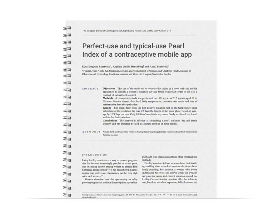 Perfect-use and typical-use Pearl Index of a contraceptive mobile app paper cover