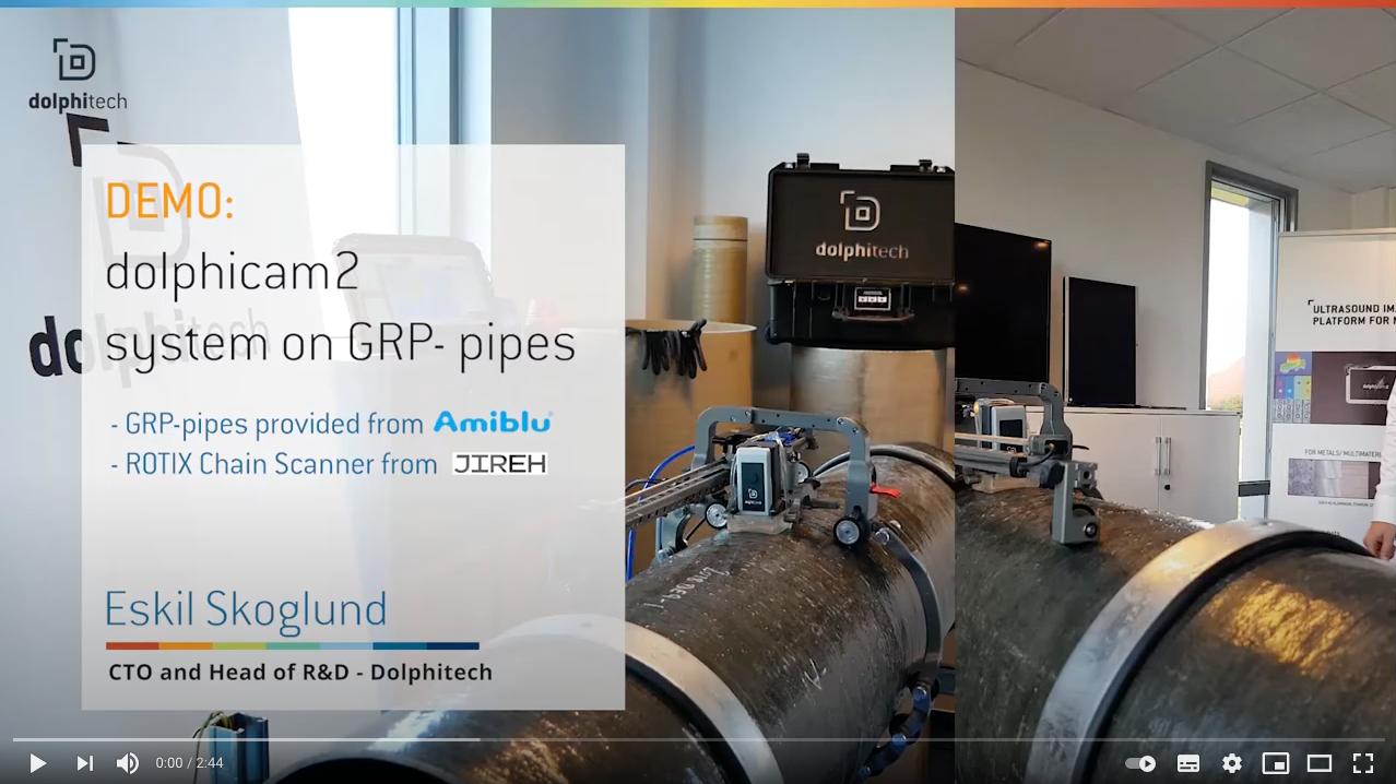 Prezentacja systemu dolphicam2 na rurze GRP przeprowadzona w języku angielskim