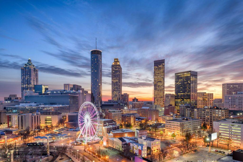Atlanta GA skyline at night