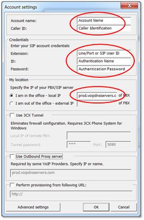 3CX SIP Account Configuration Details