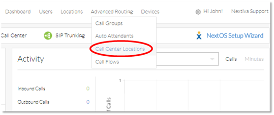 Nextiva Call Center Locations Settings