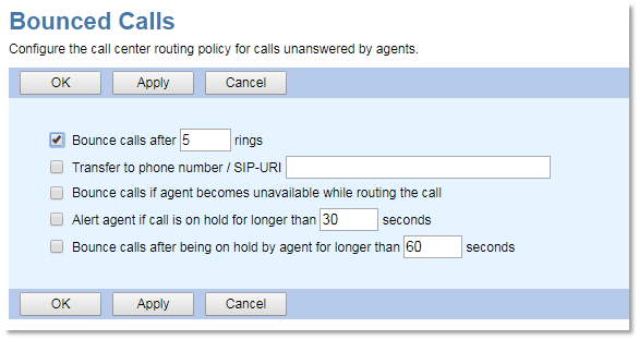 Nextiva Call Center Bounced Calls Configuration