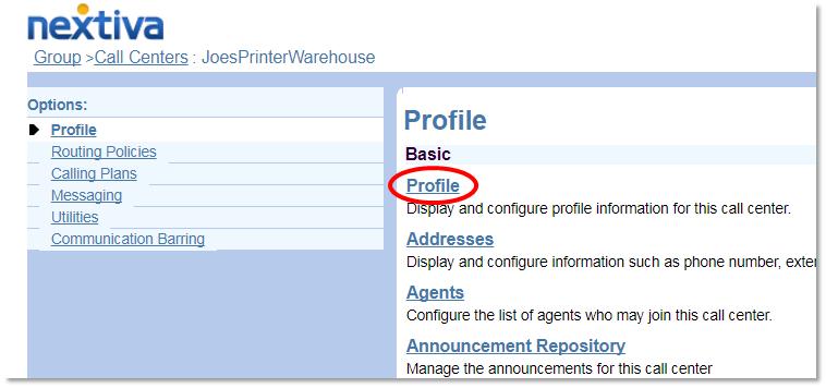Nextiva Enter the Call Center Profile