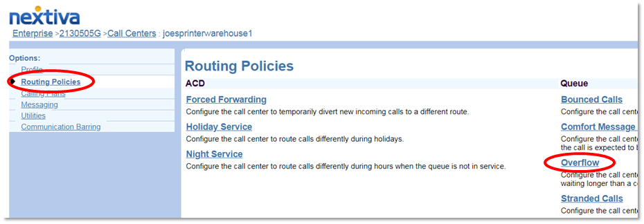Nextiva Call Center Routing Navigation to Overflow