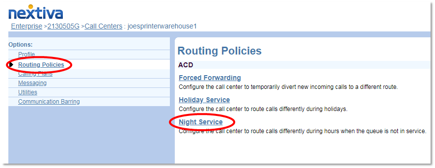 Nextiva Night Service Selection