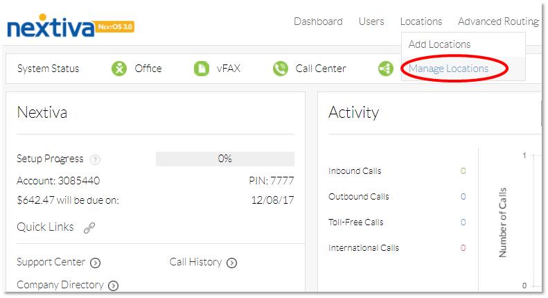 Nextiva Manage Locations