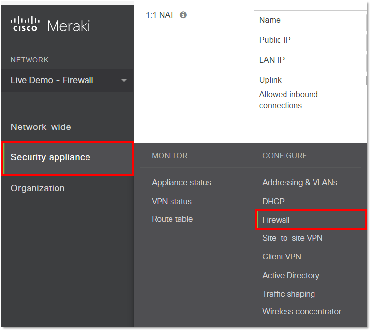 Configuring a Cisco Meraki (MX and Z1 Cloud Management) Network