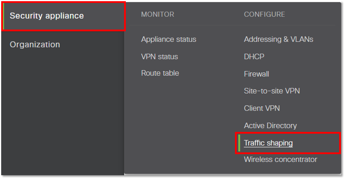 Configuring a Cisco Meraki (MX and Z1 Cloud Management