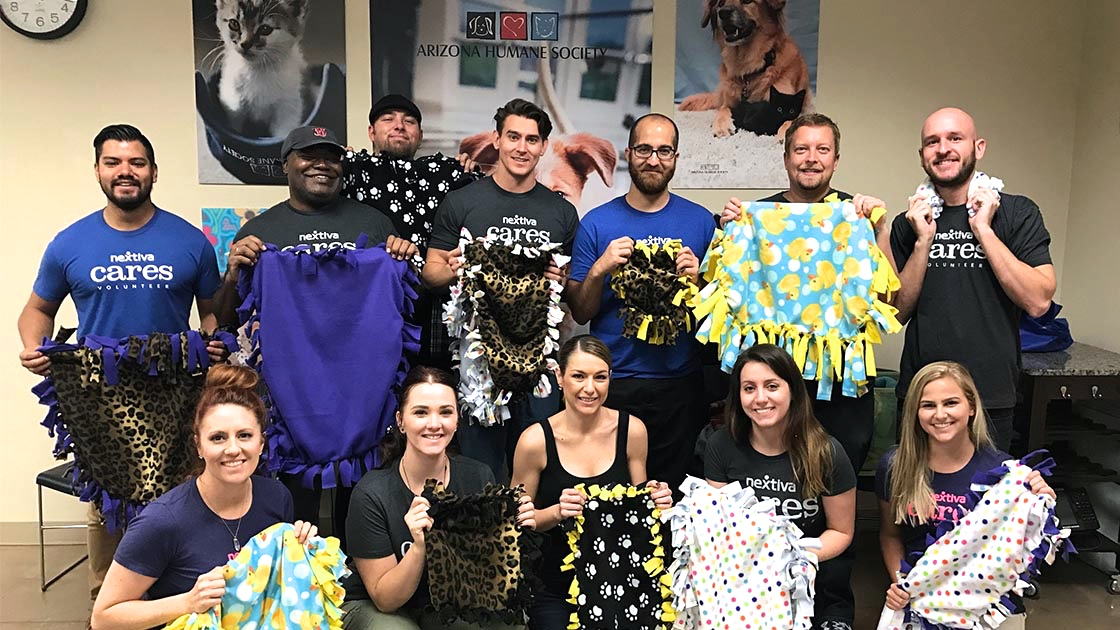 Nextiva Cares volunteers at the Arizona Humane Society
