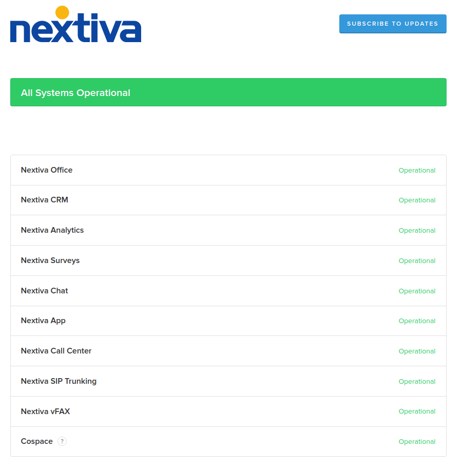 Example of a Trust Page - Screenshot of Nextiva Status