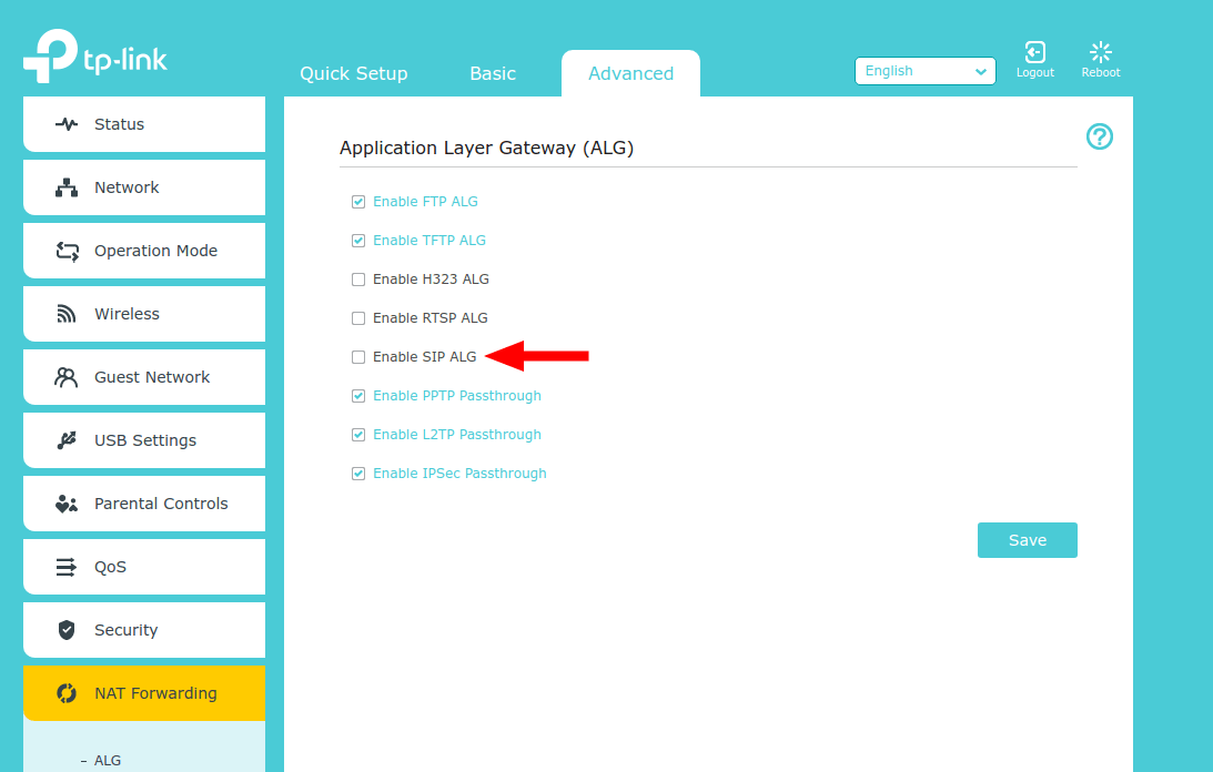 Example Showing How to Turn Off SIP Application Layer Gateway (TP-Link)