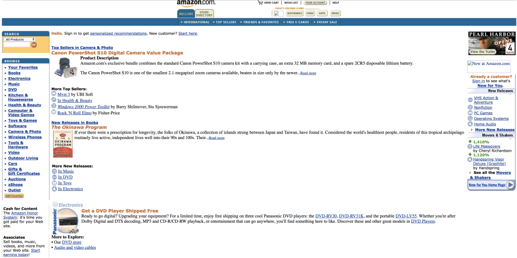 website engagement on Amazon in 2001