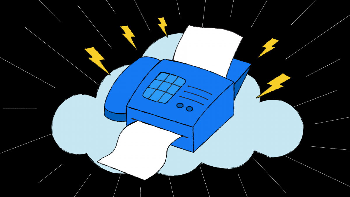 This is an illustration of a fax machine in the cloud