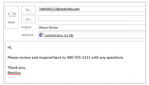 Screenshot showing email notes on vFax