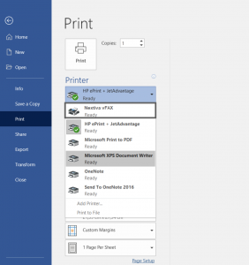 Screenshot showing printing options