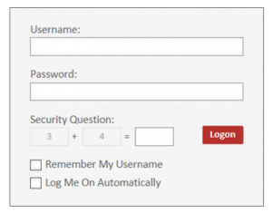 Screenshot of the vFax login page