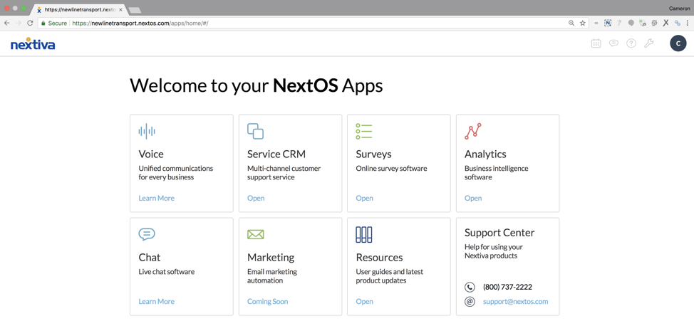 NextOS platform with live chat capabilities