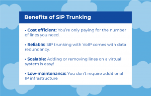 SIP Trunking: Table with the benefits