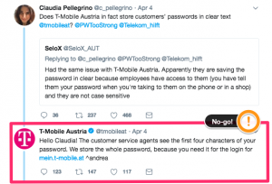 Customer Service Tips: Example of a poor tweet from T-Mobile