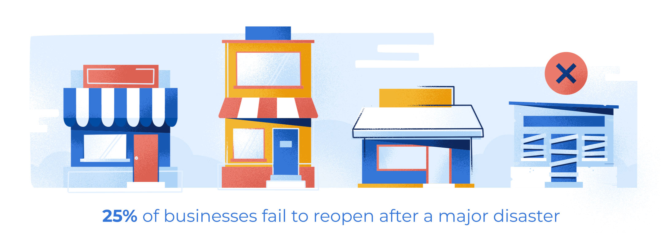 Illustration of one in four businesses fail to reopen after a major disaster
