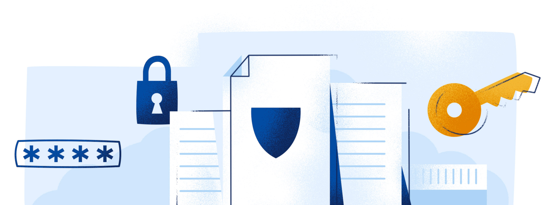 abstract imagery of papers, a lock, a key and other data breach imagery