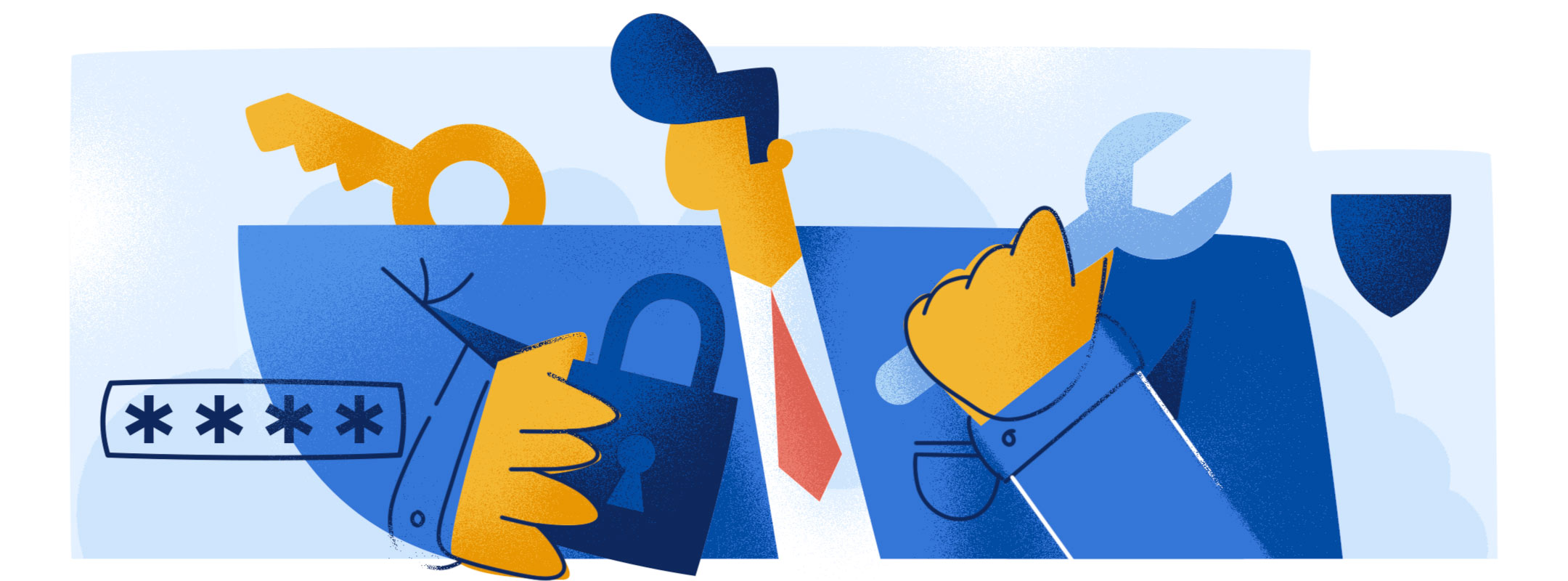 illustration of man and imagery related to a data breach response