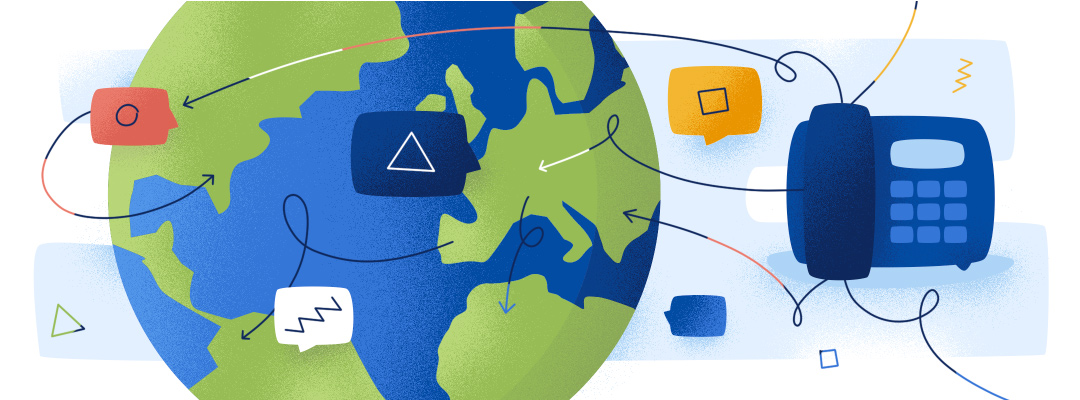 illustration of VoIP capabilities around the world