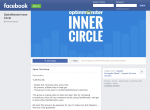 Screenshot of Optinmonster's Facebook Group