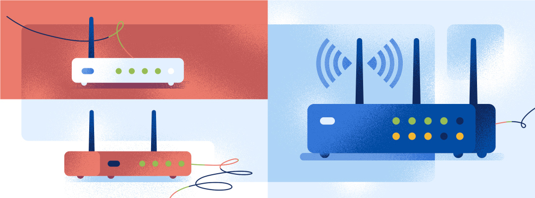 Illustrated imagery of different VoIP Routers