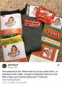 Screenshot of a tweet to John's Crazy Socks