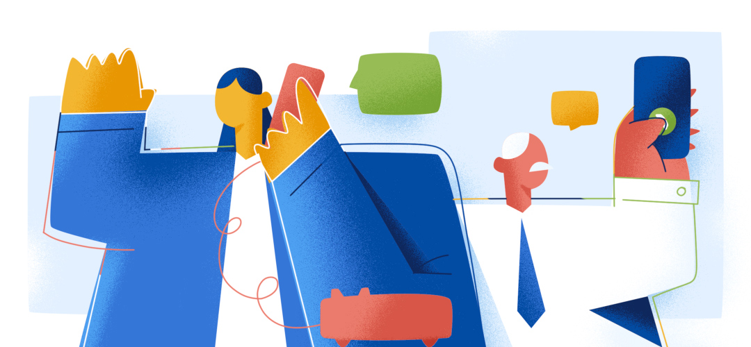 illustration of people using voip service