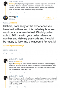 Screenshot of an angry customer to Sofology