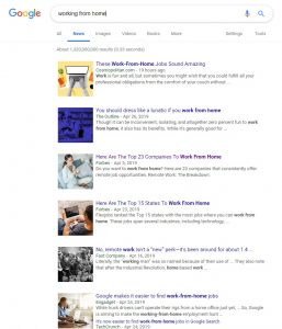 Screenshot of SERP showing how popular WFH is