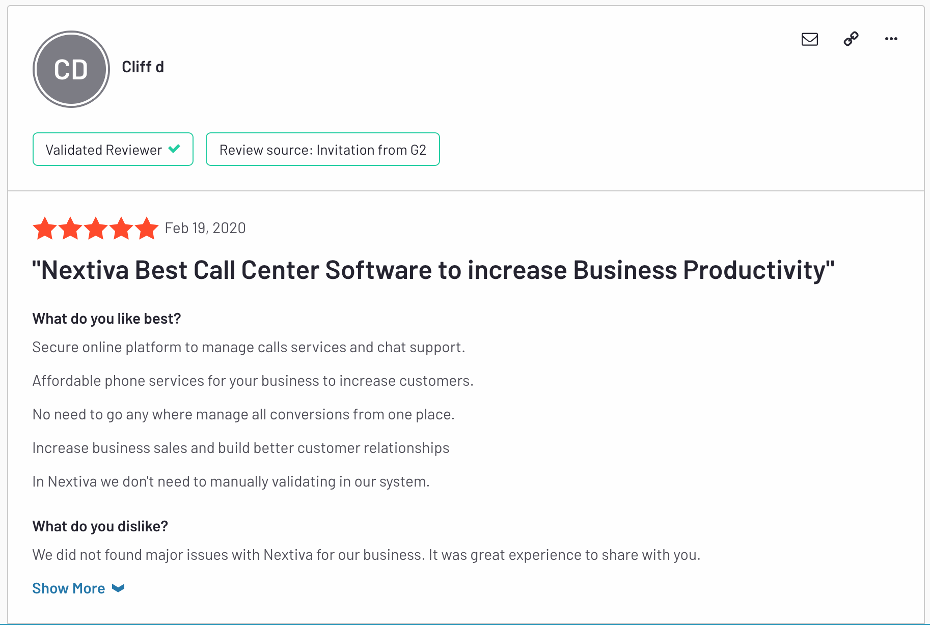 Nextiva's call center software increases productivity - G2 Review about Nextiva