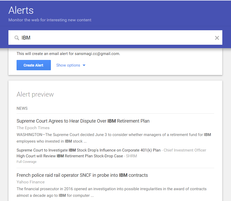 Screenshot of a Google Alerts page