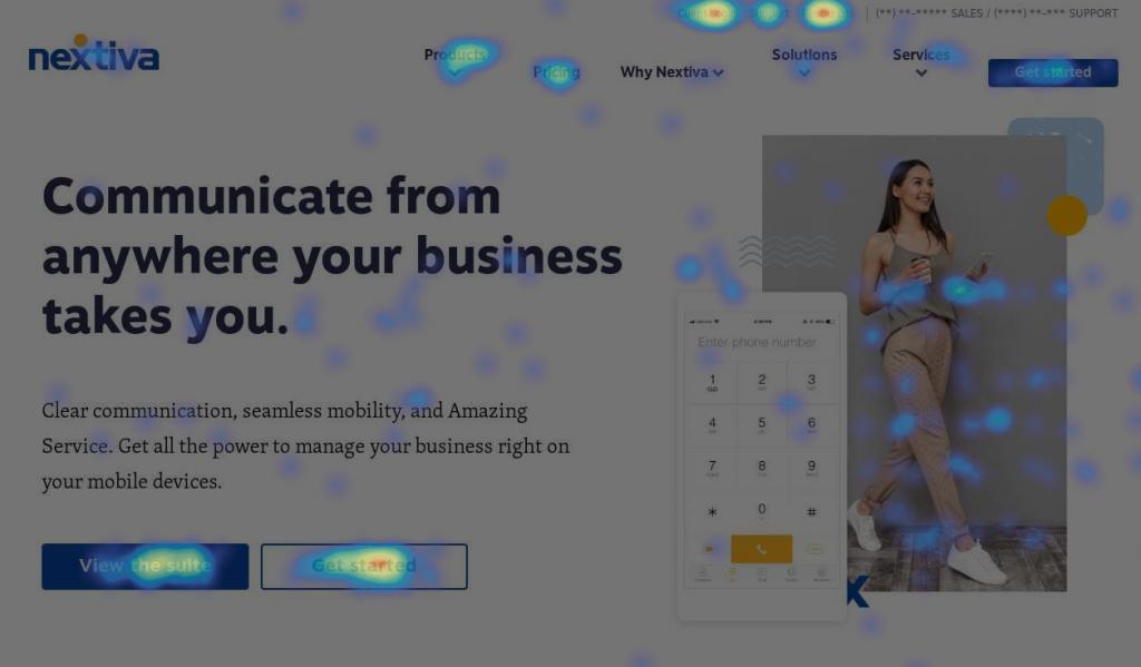 Screenshot showing a heatmap on Nextiva